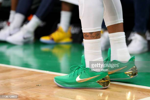 The shoes of Isaiah Thomas of the Denver Nuggets during the second half of the game against the Boston Celtics at TD Garden on March 18 2019 in...