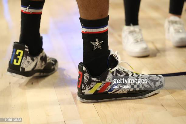 The shoes of James Harden of Team Lebron during the 2019 NBA AllStar Game on February 17 2019 at the Spectrum Center in Charlotte North Carolina NOTE...