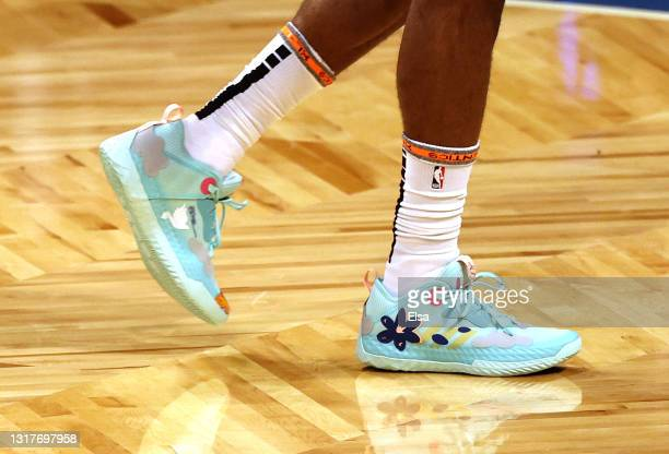 The shoes of James Harden of the Brooklyn Nets are seen during warm ups before the game between the Brooklyn Nets and the San Antonio Spurs at...