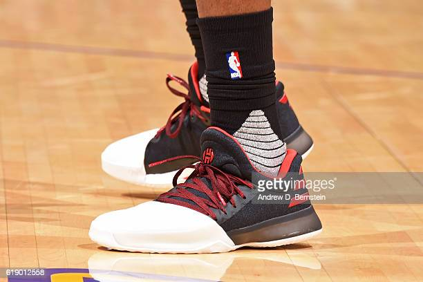 The shoes of James Harden of the Houston Rockets during the game against the Los Angeles Lakers on October 26 2016 at STAPLES Center in Los Angeles...