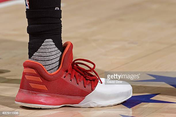 The shoes of James Harden of the Houston Rockets during the game against the Philadelphia 76ers at Wells Fargo Center on January 27 2017 in...