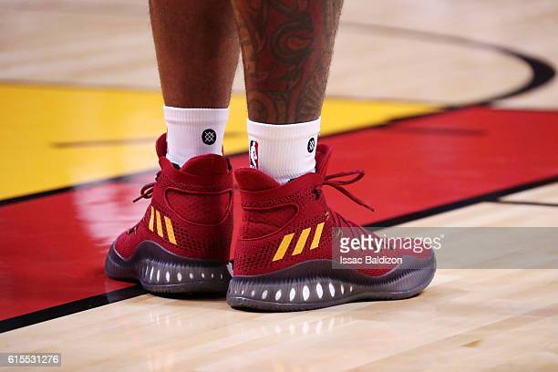 The shoes of James Johnson of the Miami Heat are seen during the game against the Orlando Magic on October 18 2016 at American Airlines Arena in...
