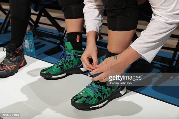 The shoes of Janel McCarville of the Minnesota Lynx are seen before the game against the Indiana Fever on May 27 2016 at Target Center in Minneapolis...