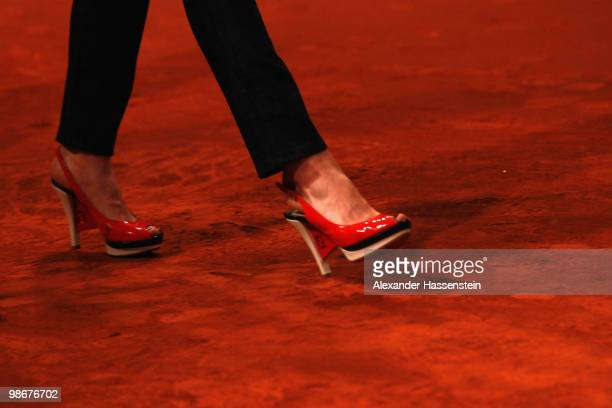The shoes of Jelena Jankovic of Serbia are pictured during the Player presentation at day one of the WTA Porsche Tennis Grand Prix Tournament at the...
