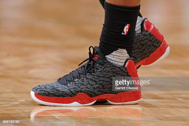 The shoes of Jimmy Butler of the Chicago Bulls during the game against the Denver Nuggets on February 5 2016 at the Pepsi Center in Denver Colorado...