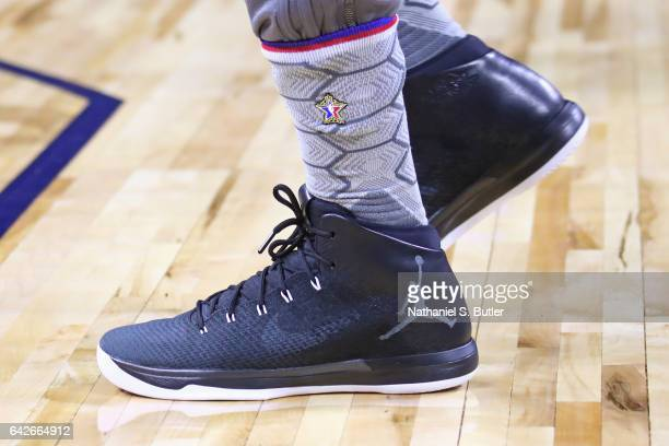 The shoes of Jimmy Butler of the Eastern Conference All Star Team during NBA AllStar Practice as part of 2017 AllStar Weekend at the MercedesBenz...