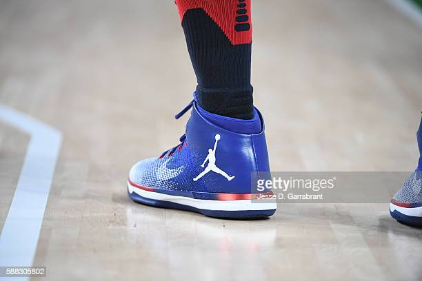 The shoes of Jimmy Butler of the USA Basketball Men's National Team are seen during the game against Australia on Day 5 of the Rio 2016 Olympic Games...