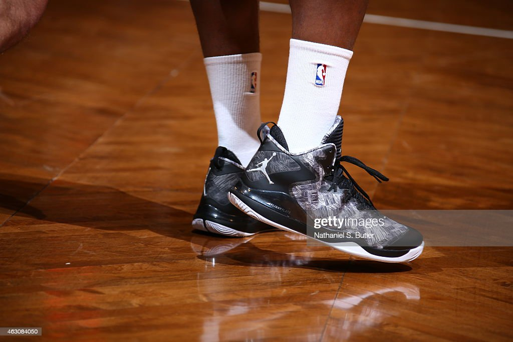 The shoes of Joe Johnson #7 of the Brooklyn Nets are seen before the game against the New York Knicks on February 6, 2015 at the Barclays Center in the Brooklyn borough of New York City.