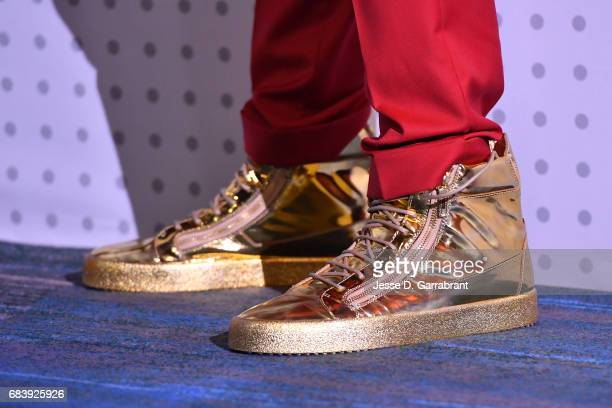 The shoes of Joel Embiid of the Philadelphia 76ers during the 2017 NBA Draft Lottery at the New York Hilton in New York New York NOTE TO USER User...