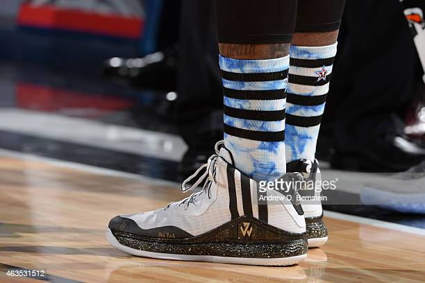 The shoes of John Wall of the Eastern Conference during the 64th NBA AllStar Game presented by KIA as part of the 2015 NBA AllStar Weekend on...