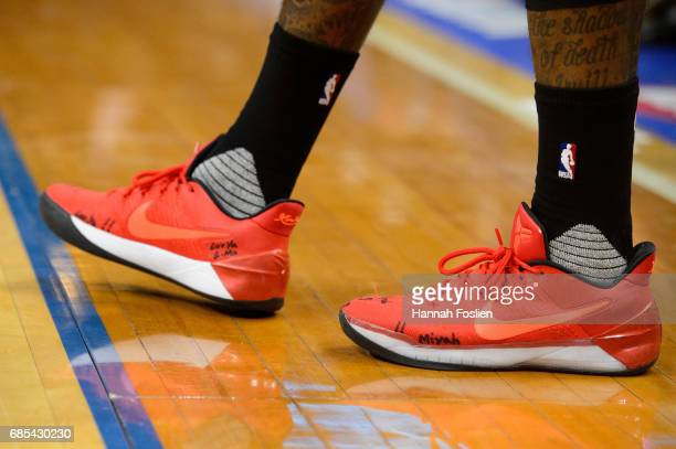 The shoes of John Wall of the Washington Wizards are seen during the third quarter of the game against the Minnesota Timberwolves on March 13 2017 at...