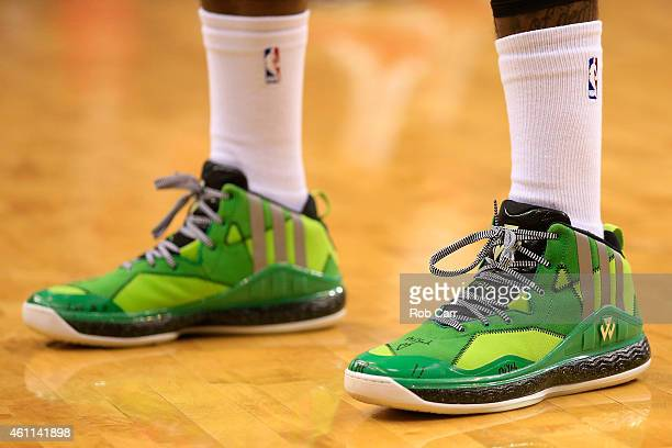 The shoes of John Wall of the Washington Wizards are shown during the first of the Wizards game against the New York Knicks at Verizon Center on...