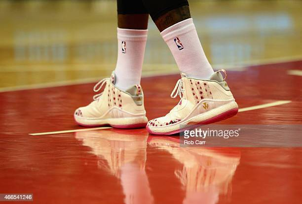 The shoes of John Wall of the Washington Wizards are shown during the first half of the Wizards game against the Portland Trail Blazers at Verizon...