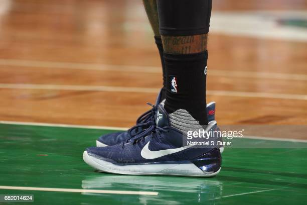 The shoes of John Wall of the Washington Wizards in Game Five of the Eastern Conference Semifinals against the Boston Celtics during the 2017 NBA...