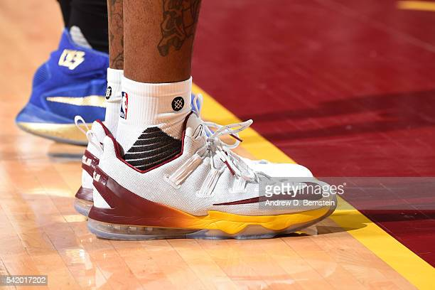 The shoes of JR Smith of the Cleveland Cavaliers are seen during the game against the Golden State Warriors in Game Six of the 2016 NBA Finals on...