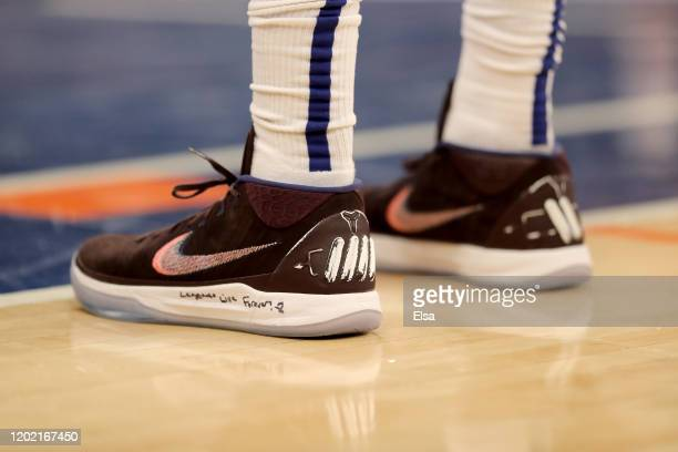 The shoes of Julius Randle of the New York Knicks are seen during a free throw at Madison Square Garden on January 26 2020 in New York CityLos...