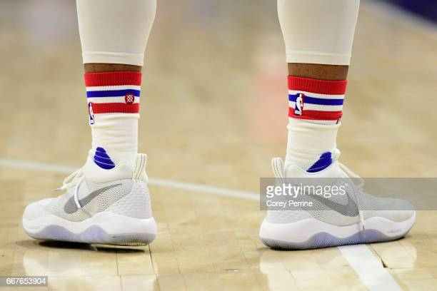 The shoes of Justin Anderson of the Philadelphia 76ers are shown against the Indiana Pacers during the second quarter at the Wells Fargo Center on...