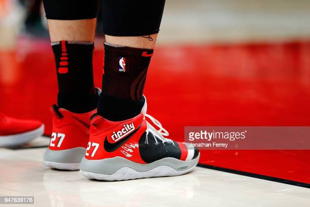 The shoes of Jusuf Nurkic of the Portland Trail Blazers agianst of the Utah Jazz at Moda Center on April 11 2018 in Portland OregonNOTE TO USER User...