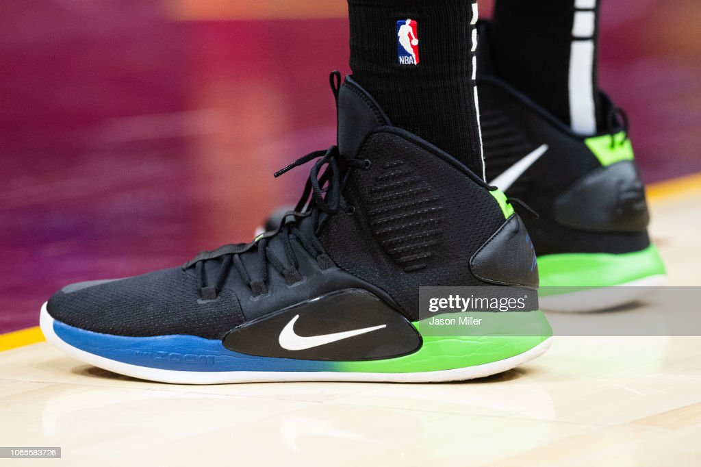 The shoes of Karl-Anthony Towns of the Minnesota Timberwolves during