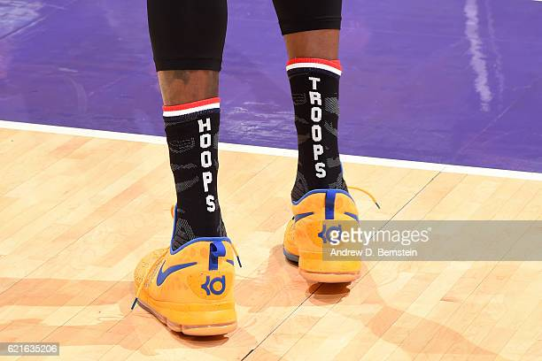 The shoes of Kevin Durant of the Golden State Warriors before the game against the Los Angeles Lakers on November 4 2016 at STAPLES Center in Los...