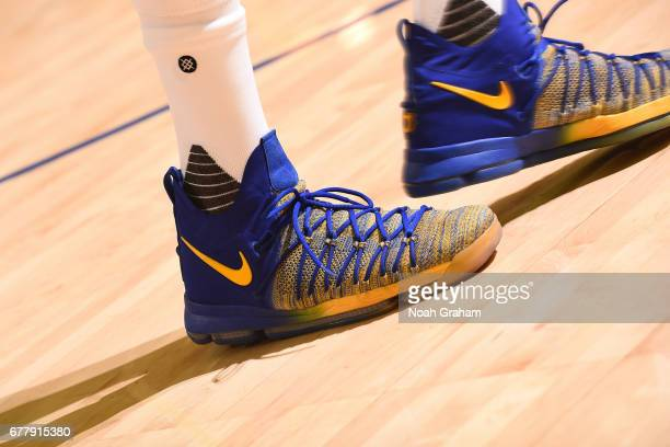 The shoes of Kevin Durant of the Golden State Warriors during Game One of the Western Conference Semifinals against the Utah Jazz of the 2017 NBA...