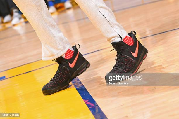 The shoes of Kevin Durant of the Golden State Warriors during the game against the Los Angeles Clippers on January 28 2017 at ORACLE Arena in Oakland...