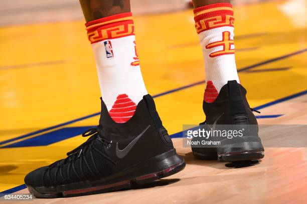 The shoes of Kevin Durant of the Golden State Warriors during the game against the Chicago Bulls on February 8 2017 at ORACLE Arena in Oakland...