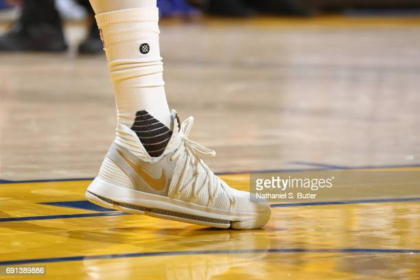 The shoes of Kevin Durant of the Golden State Warriors in Game One of the 2017 NBA Finals against the Cleveland Cavaliers on June 1 2017 at Oracle...