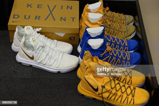 The shoes of Kevin Durant of the Golden State Warriors on display before Game One of the 2017 NBA Finals against the Cleveland Cavaliers on June 1...
