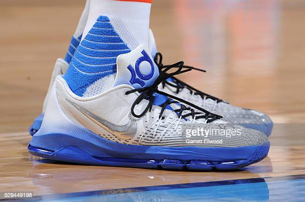 The shoes of Kevin Durant of the Oklahoma City Thunder are seen during the game against the San Antonio Spurs in Game Four of the Western Conference...