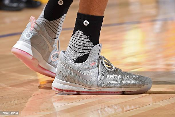 The shoes of Kevin Durant of the Oklahoma City Thunder during Game Seven of the Western Conference Finals against the Golden State Warriors during...