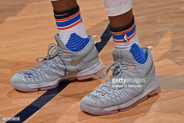 The shoes of Kevin Durant of the Oklahoma City Thunder during Game Four of the Western Conference Finals against the Golden State Warriors during the...
