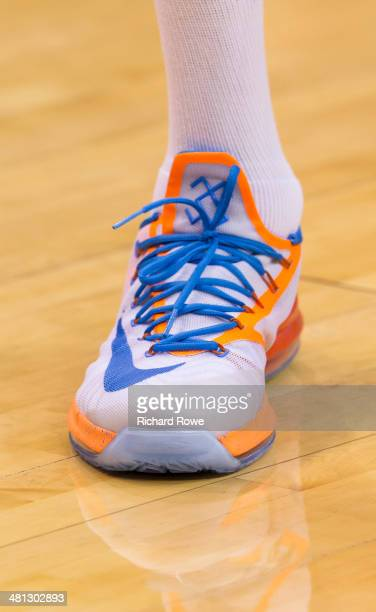 The shoes of Kevin Durant of the Oklahoma City Thunder during the game against the Sacramento Kings at the Chesapeake Arena on March 28 2014 in...