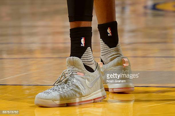 The shoes of Kevin Durant of the Oklahoma City Thunder in Game Five of the Western Conference Finals against the Golden State Warriors during the...