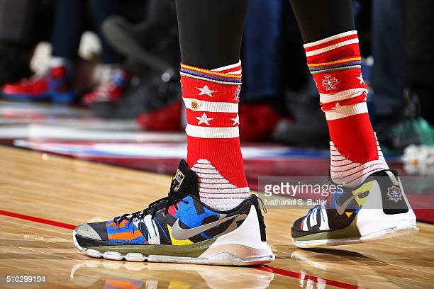 The shoes of Kevin Durant of the Western Conference during the NBA AllStar Game as part of 2016 NBA AllStar Weekend on February 14 2016 at the Air...