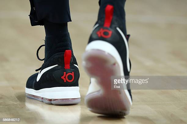 The shoes of Kevin Durant of United States are seen against China on Day 1 of the Rio 2016 Olympic Games at Carioca Arena 1 on August 6 2016 in Rio...