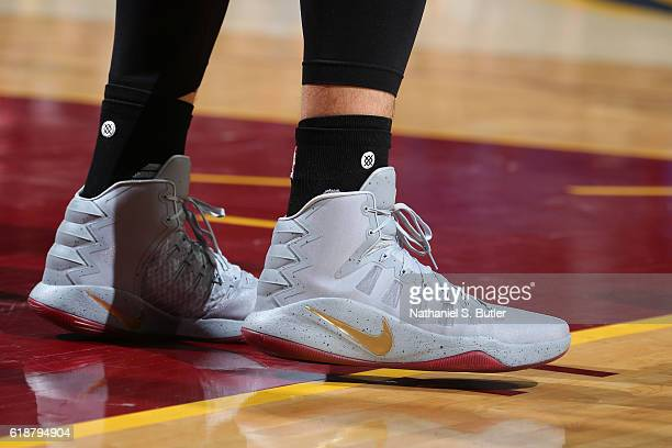 The shoes of Kevin Love of the Cleveland Cavaliers during the game against the New York Knicks on October 25 2016 at Quicken Loans Arena in Cleveland...