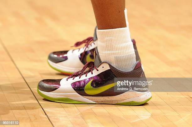The shoes of Kobe Bryant of the Los Angeles Lakers are shown during a game against the Cleveland Cavaliers at Staples Center on December 25 2009 in...