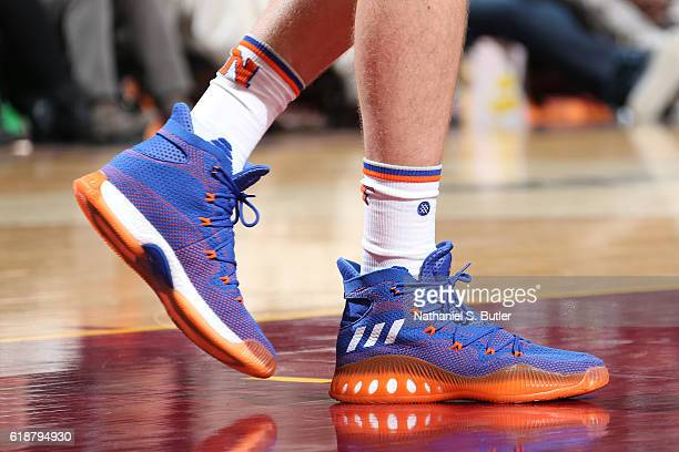 The shoes of Kristaps Porzingis of the New York Knicks during the game against the Cleveland Cavaliers on October 25 2016 at Quicken Loans Arena in...