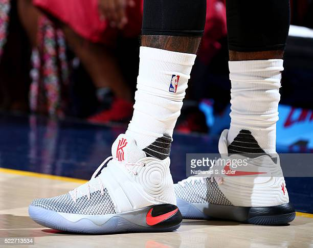 The shoes of Kyrie Irving of the Cleveland Cavaliers are seen during the game against the Detroit Pistons in Game Two of the Eastern Conference...