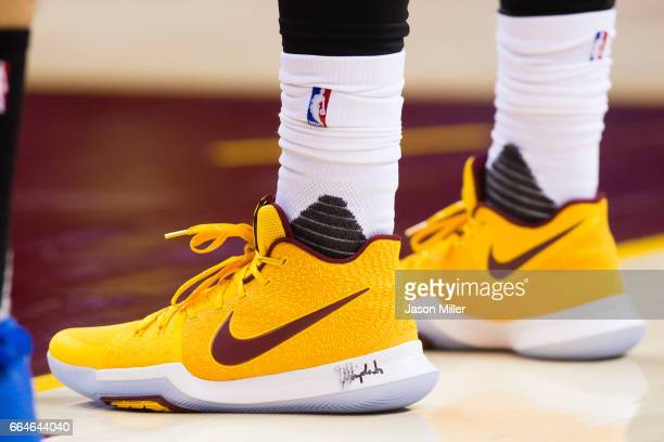 The shoes of Kyrie Irving of the Cleveland Cavaliers are shown during the second half against the Orlando Magic at Quicken Loans Arena on April 4...