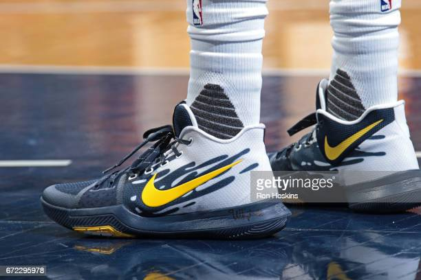 The shoes of Kyrie Irving of the Cleveland Cavaliers during Game Four of the Eastern Conference Quarterfinals against the Indiana Pacers of the 2017...