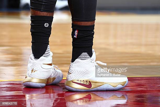 The shoes of Kyrie Irving of the Cleveland Cavaliers during Game Three of the 2016 NBA Finals against the Golden State Warriors on June 8 2016 at...