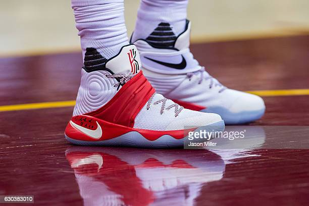 The shoes of Kyrie Irving of the Cleveland Cavaliers during the first half against the Milwaukee Bucks at Quicken Loans Arena on December 21 2016 in...
