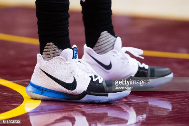 The shoes of Kyrie Irving of the Cleveland Cavaliers during the first half against the Minnesota Timberwolves at Quicken Loans Arena on February 1...