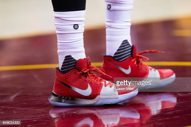 The shoes of Kyrie Irving of the Cleveland Cavaliers during the first half against the Denver Nuggets at Quicken Loans Arena on February 11 2017 in...