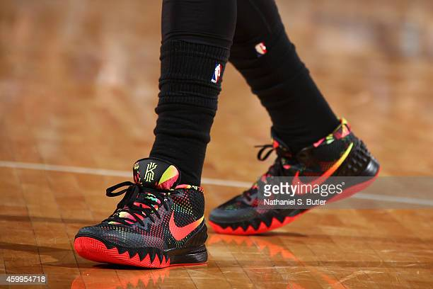 The shoes of Kyrie Irving of the Cleveland Cavaliers during the game against the New York Knicks at Madison Square Garden in New York City New York...