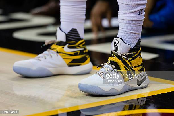 The shoes of Kyrie Irving of the Cleveland Cavaliers during the second half against the Dallas Mavericks at Quicken Loans Arena on November 25 2016...