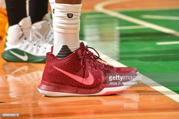The shoes of Kyrie Irving of the Cleveland Cavaliers in Game Five of the Eastern Conference Finals against the Boston Celtics during the 2017 NBA...