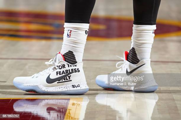 The shoes of Kyrie Irving of the Cleveland Cavaliers in Game Four of the Eastern Conference Finals against the Boston Celtics during the 2017 NBA...